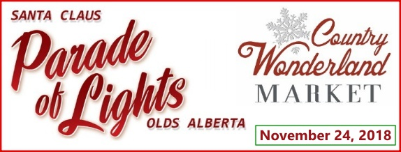 The annual Santa Claus Parade of Lights is hosted by the Olds Regional Exhibition following the Christmas Wonderland Market.  In 2018, the date is November 24th. Click here for details.