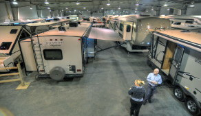 The folks at Country Road RV in Sundre take the RVs out of the cold and snow for three weeks each winter. This was at the 6th Annual Indoor RV Show and Sale in 2013.