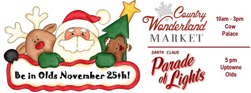 Santa Claus Parade of Lights in Olds on Saturday, November 25th.